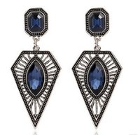 Wholesale top sales All match retro Crystal Gemstone exaggerated triangle Earrings