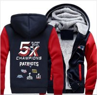 Wholesale Price New England Football Patriot Zipper Jacket Sweatshirts Printing Pattern Thicken Fleece Hoodie Coat Men Women USA size
