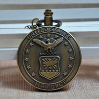 air force dress - Retro Bronze United States Air Force USAF Quartz Pocket Watch Analog Pendant Necklace Mens Womens Gifts A105