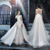 Wholesale Lace Sheer Backless Berta Wedding Dresses Bridal Gowns Applique Sexy Deep V Neck Cap Sleeves Sweep Train Formal White Gowns