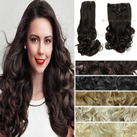 Wholesale 19 quot heavy g Synthetic Clips in Hair Extensions Heat Resistant Hairpiece Long Wavy Curly False set Hair Extensions