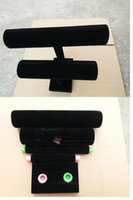 Wholesale Spiral Detachable Balck Layer Velvet Jewelry Bracelet Necklace Watch Display Stand angle Watch Holder T bar