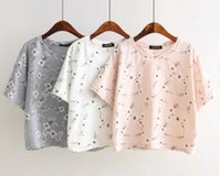 Wholesale 2016 Korean Style Fashion Summer New Cotton Flower Embroidery Round Collar Cotta Short Women T shirt