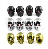 Accessoires de voiture 4Pcs / set CHROME SKULL HEAD AIR VALVE CAPS MOTORCYCLE VOITURE CAMION SUV BIKE TIRE AIR CAP 2016 Nouveau