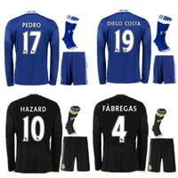 Wholesale 2016 Long Sleeve Chelsea Soccer Jerseys Sets Uniform Blues HAZARD OSCAR DIEGO COSTA Willian Pedro Full Football Suit With Socks