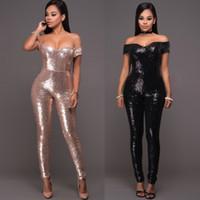 Wholesale Fashion New Black Gold Slinky Metallic Glitter Jumpsuit Disco Strapless Sequin Bodysuit Catsuit