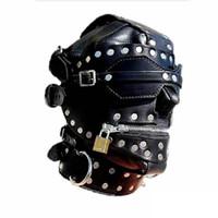 Kinky Metal Stud Finish Fetish Bondage Capuchas de cuero Head Mask Slave Entrenamiento Zipper Full Head Harness Costume