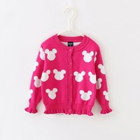baby knit sweater pattern - Baby Kids Clothing girls Sweaters Cardigan Spring Autumn Lolita style minnie pattern Cotton long sleeve Knitwear Knitting for children