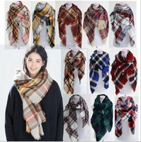 big basic - 14 colors Fashion Winter New Tartan Scarf Plaid Blanket Scarf New Designer Unisex Acrylic Basic Shawls Women Scarves Big Size b501