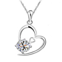 Wholesale Heart Love Necklace New Arrival Silver Plated White Only Stone Pendant Necklace for Women