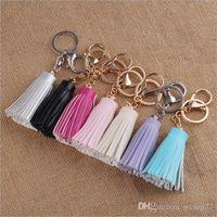 Wholesale Tassel Fringe Pu Leather Keychain Purse Bag Buckle HandBag Pendant For Car Keyring Holder Women Jewelry Gold