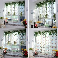 Wholesale Butterfly Pattern Door Roman Window Sheer Floral Curtain Drape Voile Valances