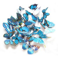 Wholesale 12pcs D PVC Wall Stickers Magnet Butterflies DIY Wall Sticker Home Decor Poster Kids Rooms Wall Decoration