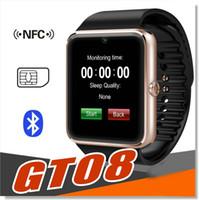 Montre de fitness de santé à puce Prix-GT08 Bluetooth Smart Watch avec fente pour carte SIM et TF Health Watchs pour Android Samsung et IOS iphone Smartphone Bracelet Smartwatch SB-GT08