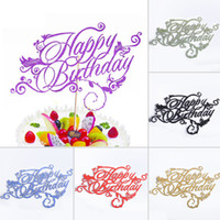 Cake Accessory artistic wholesaler - Artistic Fonts Happy Birthday Cupcake Cake Topper Cake Flags Family Friends Birthday Party Baking Creative Decoration Supplies