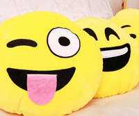 Wholesale 14 Styles Cushion Cute Lovely Emoji Smiley Pillows Cartoon Facial QQ Expression Cushion Pillows Yellow Round Pillow Stuffed Plush Toy