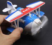 Wholesale Alloy cartoon biplane glider model alloy car model simulation aircraft model back light version of the