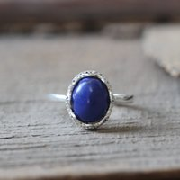 Wholesale SILVER nature stone Lapis Lazuli ring healing stone ring blue charm daynight jewelry crown bezel LADY s Ring C263R