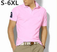Wholesale Top quality men s fashion polos short sleeve shirt mens brand casual shirt Quick drying T shirt mens golf shirt cotton big horse XL XL
