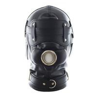 Wholesale Bondage Gear BDSM Restrain Full Cover Hood Mask Faux Leather Dog Slaves Mask Sex Toys For Adult Sex Game