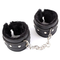 Wholesale Black PU Leather Furry Comfortable Handcuffs Restraints Bondage Tools Flirting Tool for Beginners