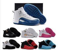 Precio de Niños juegos niños-Caliente Niños Retro 12 gripe juego Baloncesto Zapatos Negro Playoffs el Maestro zapatos Francés azul Athletic Niños Zapatilla para Boy Girl Regalo de cumpleaños