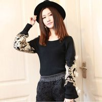Wholesale New Embroidery Golden Pullover Women Autumn Lantern Long Sleeve Womens Jumpers Slim Sweaters Black Sweater