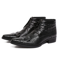 ankle veins - Crocodile veins embossed leather boots men fashion pointed toe lace up luxury design ankle boots autumn winter mens work boots