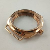 Wholesale High Quality mm PVD gold Stainless Steel watch case fit ETA6497 Hand Winding Movements mens watch Watch Accessories
