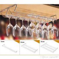 Precio de Bastidores de almacenamiento de vino-Copa de vino titular de vidrio de vino Colgando de copas de bebida Stemware Rack En virtud de gabinete Organizador de almacenamiento Doble fila para el hogar