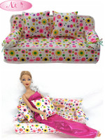 best dollhouses - NK Doll Accessories Cute Dollhouse Furniture Flower Cloth Sofa Couch With Cushions For Barbie Doll House Toys Best Gift