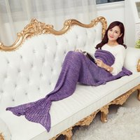 Wholesale Adult Mermaid Tail Blankets Kids Mermaid Tail Sleeping Bags Cocoon Mattress Knit Sofa Blankets Handmade Living Room Sleeping Bag Xmas Gift