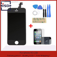 Others Others Others Wholesale-100% A+++Guarantee LCD Display for Iphone 5C Touch Screen Digitizer Assembly+Tools +Tempered glass Screen Protector film Black