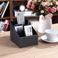 bamboo desk organizer - 3 Cells Leather Storage Box Desk Decor Stationery Makeup Cosmetic Organizer Remote Control Phone Holder
