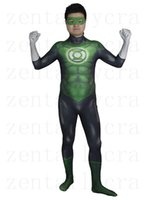Wholesale 3D Movie Green Lantern Costume Cosplay Suit Muscle shade Spandex lantern Superhero Costume Male halloween Bodysuit costume