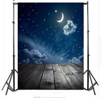 Precio de Vinil fondos de fotografía-3x5ft Fotografía Fondo de vinilo Luna nocturna Luna Board photo Studio Props Fondo fotográfico a prueba de agua 0.9m x 1.5m