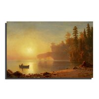 beautiful beach scenery - printed type seascape canvas paintings with boats aned beach beautiful scenery decorative wall painting