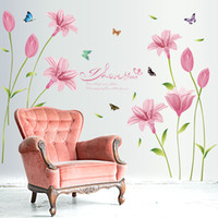Removable beautiful bedroom decor - Beautiful flower pink Lily DIY home decorative wall stickers home decor self adhesive wall decal vinilos decorativos pegatinas x90cm pc