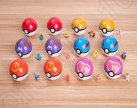 Wholesale Pokeball Action Figure cm Poke Anime Cartoon ABS Plastic Poke Pocket Monster Ball Kids Toys Christmas Gift designs OOA928