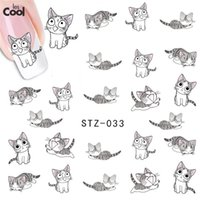 Wholesale Cat Stamping Nail - Wholesale-1 sheet New Water Transfer Nail Art Stickers Decal Cute Cats Black White Grey Design Decorative Foils Stamping Tools STZ-033