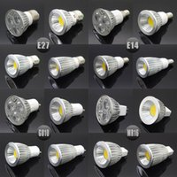 al por mayor bombillas de luz 12v dc e27-E27 E14 GU10 MR16 LED COB Proyector Dimmable 6w 9w 12w 15w punto bombilla de alta potencia lámpara AC DC 12V o 85-265V
