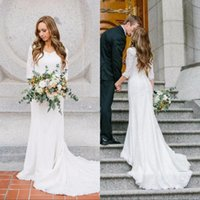 Wholesale Summer Vintage Modest Wedding Dresses With Long Sleeves Bohemian Lace Chiffon Wedding Gowns Country Wedding Dress