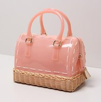 Women beach basket bag - Factory brand bag handmade bamboo basket weaving summer candy color women handbag beach resort portable candy color pillow package