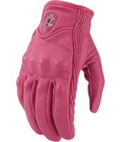 Wholesale New Real Leather Full Finger women Motorcycle Gloves Motorbike Protective Gears Moto Street Racing Glove Pink