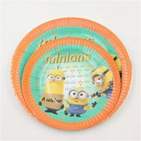 Wholesale inch inch paper dish plate kids birthday party decoration minions theme party supplies baby shower favor