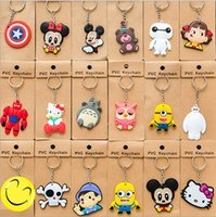 ball bearing keychain - Mix styles keychain cartoon Despicable Me cats girl boy bear Doraemon Captain America keychain car pendant Minions doll gift