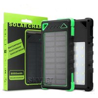 Wholesale Waterproof Solar Power Bank Solar Charger LED Light Portable mAh External Backup Battery Pack Solar Panel Charger with Retail Package