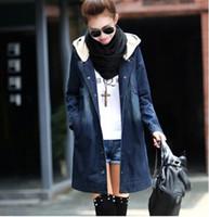 Acheter Jean à capuche-Jeans veste femmes water-wash veste en jean à capuchon plus taille manteaux jaqueta féminina jeans motocicleta jaquetas colegial
