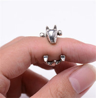 american terrier - 10pcs Fashion Antique Bronze Bull Terrier Rings Cute Adjustable Animal Rings for Women Anels Dog Shaped Jewelry