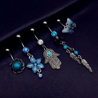 Unisex bar bell - 20pcs mix style vintage butterfly palm hand flower turquoise dangle navel belly bar button rings body piercing jewelry sets